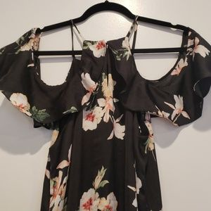 Black floral silk dress